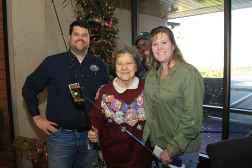 83-year old Rossine Jones of Jacksonville won the AGFC's Family and Community Fishing Program trout  tagging contest in December 2012.